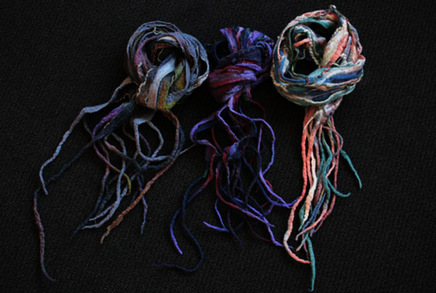 Felted scrap scarves